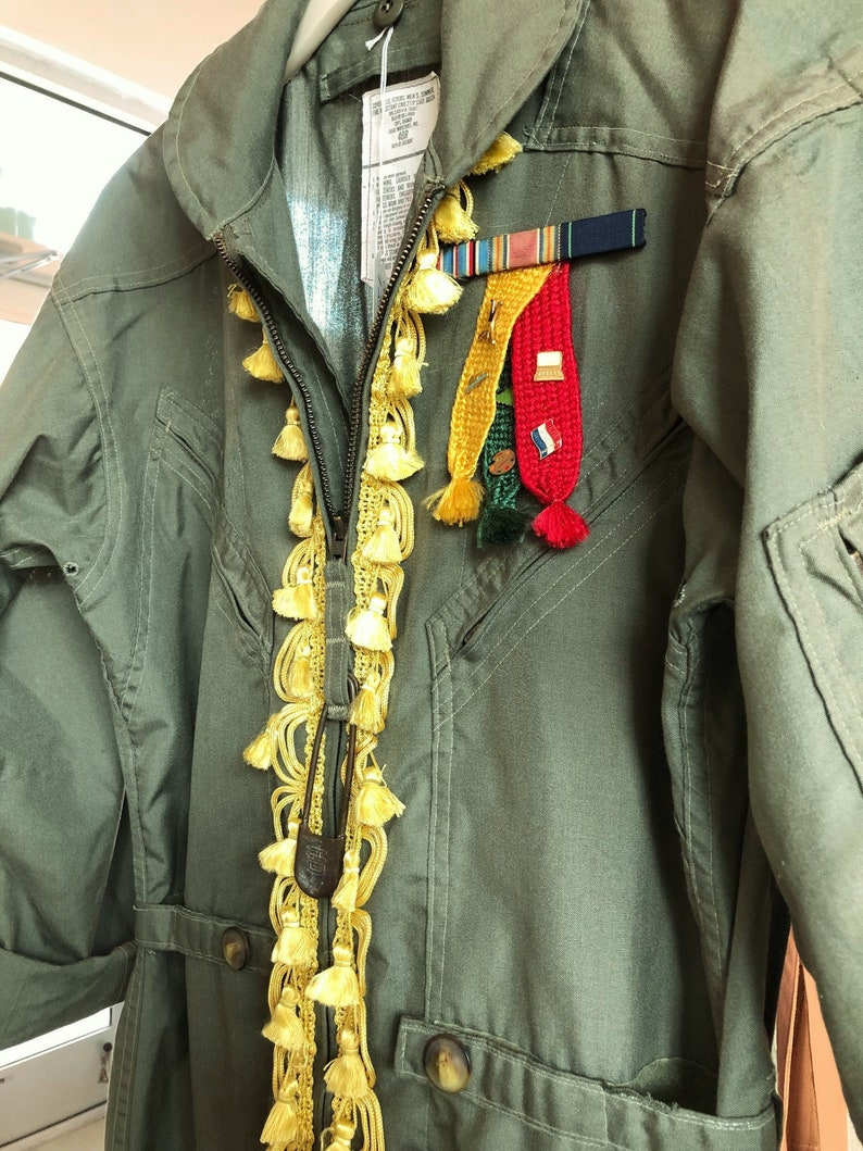 Cadence-OD Air Force Coveralls Embellished with Vintage Tassel Trim,  Webelo, Military and Academic Awards, Letterman Letter, Laundry Pin