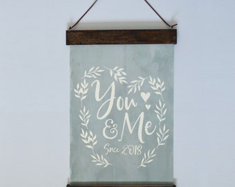 You & Me Art with Wood Poster Hanger