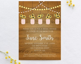 rustic sunflowers amongst lanterns bridal shower invitation