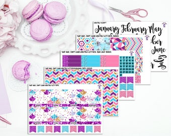 Salt Hair, Don't Care! Custom Monthly Spread Sticker Kit to fit the Erin Condren Life Planner