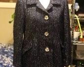 Alpaca suit mohair silk navy blue white nubby 3-D highly textured pencil skirt 3 button career blazer tweed custom tailored S M 8 10