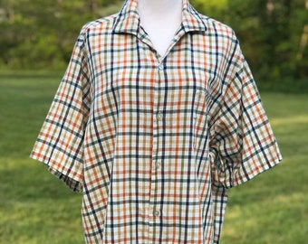 50/% SUMMER SALE Mens Vintage Southern Classics Green Red Tartan Plaid Checkered Print Button Up Collared Long Sleeve Shirt Sz Large