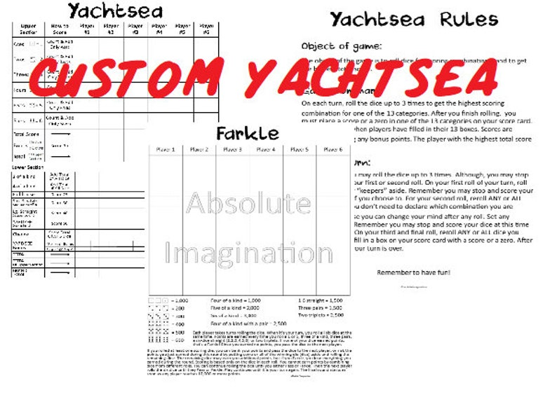 photo about Farkle Rules Printable identified as Tailor made.PRINTABLE. Tremendous BUNDLEYachtsea, Yachtsea Pointers Farkle Ranking Card. Fish Extender