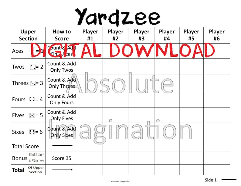 image about Printable Yahtzee Score Sheets 2 Per Page titled PRINTABLE. Weighty PRINT. Yardzee Rating Card. Yardzee Board. Garden Yahtzee Rating Card. Electronic Obtain