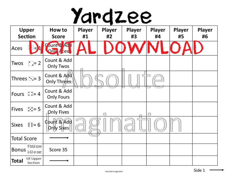 photo regarding Printable Yahtzee Score Sheets Pdf referred to as PRINTABLE. Substantial PRINT. Yardzee Rating Card. Yardzee Board. Garden Yahtzee Rating Card. Electronic Down load