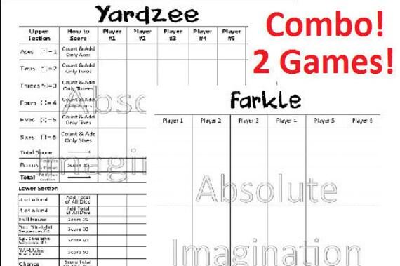 SALE PRINTABLE Yardzee Farkle Score Card Board