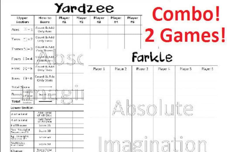 image regarding Free Printable Farkle Sheets named SALE! PRINTABLE. Yardzee Farkle Ranking Card. Yardzee Board. Farkle Board. Garden Yahtzee Farkle Combo Ranking Card. Electronic Obtain