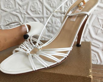b4d633b12 1970s Gucci Leather Sandals-High Heels Designer-Made in Italy-Vintage-Like  New-Size 39.5-Sexy Shoes Pump Bridal Runway Resort Pin Up