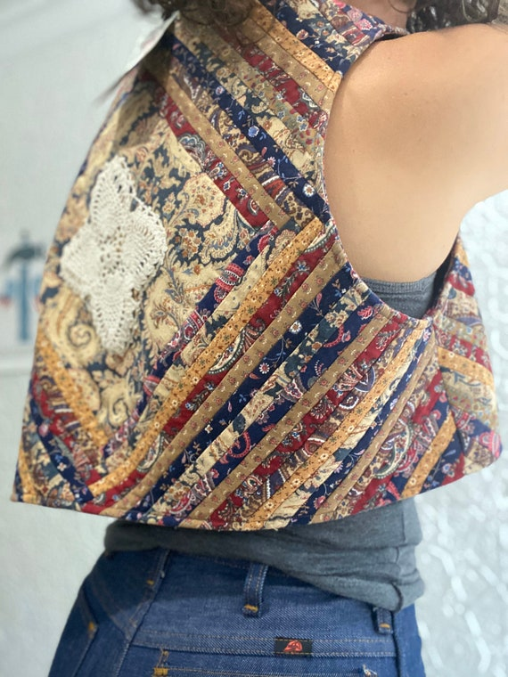 1970s Boho Patchwork Chevron Quilted Granny Vest-F