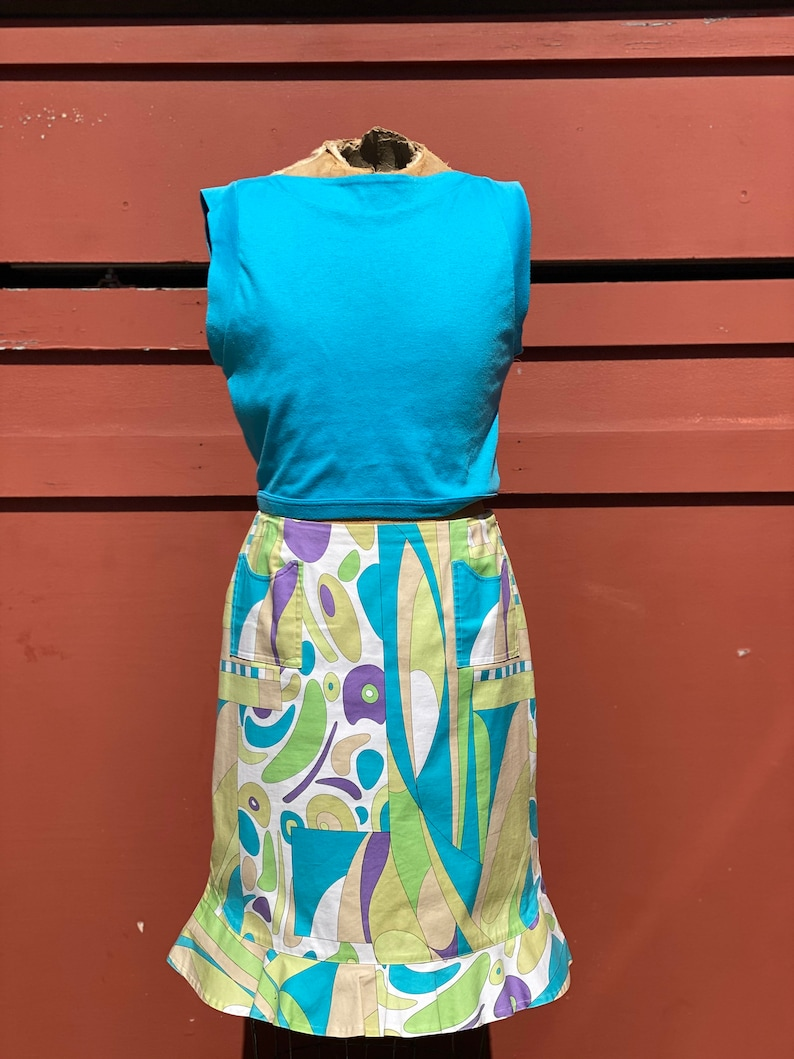 90s Pucci style abstract print ruffle skirt purple green turquoise 60s 70s Mod Vintage summer seperates
