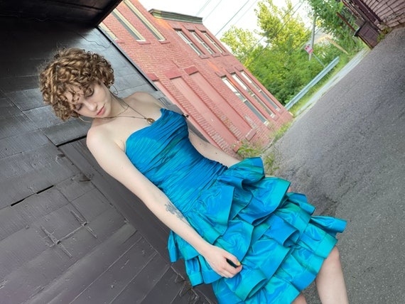 Designer 1980s Tadashi Sea Blue Green Party Dress… - image 7