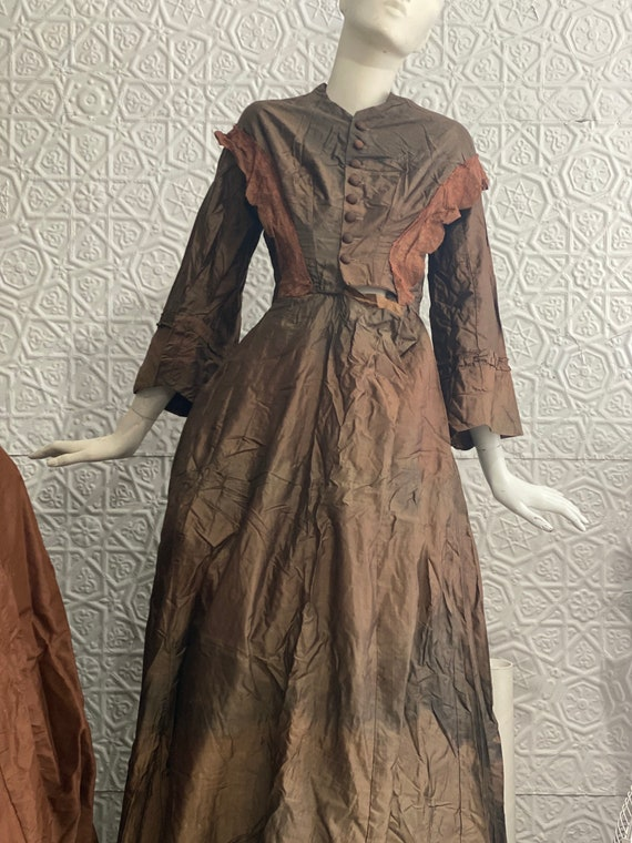 Antique 1800s Silk Wedding Gown-Brown-Victorian-La