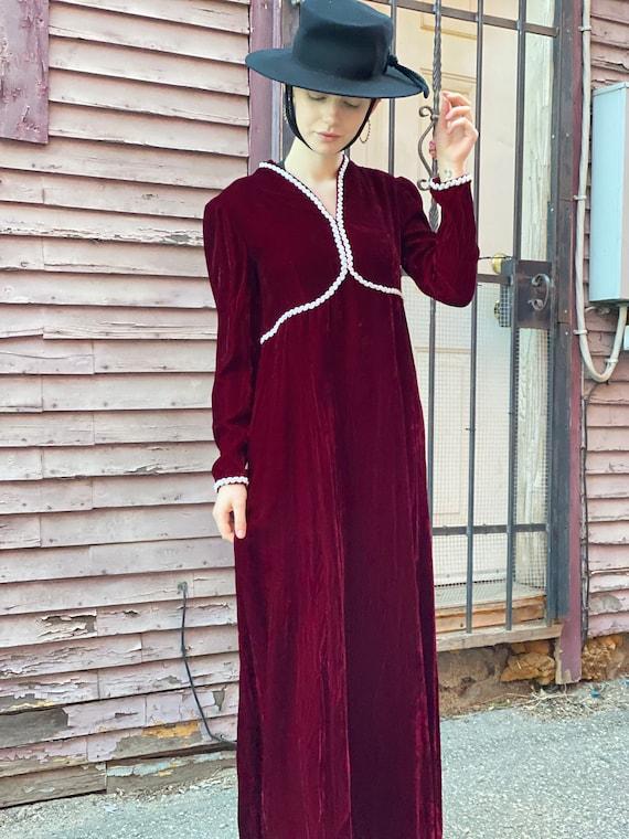 Blood Red Brick Wine Velvet Maxi Dress-1980s Does