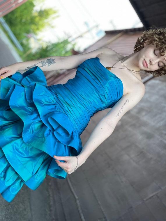 Designer 1980s Tadashi Sea Blue Green Party Dress… - image 9