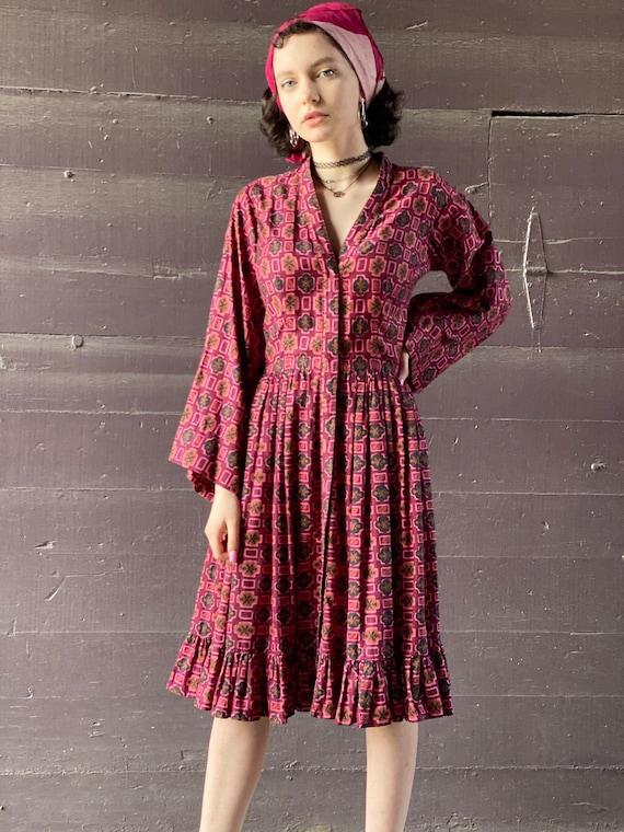 1940s Raspberry Crush Ruffled Dress-Bell Sleeve-Ha