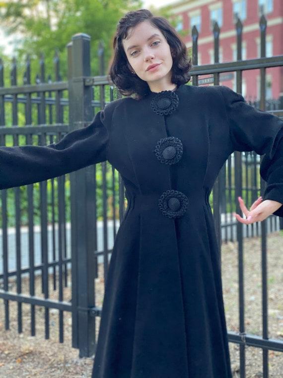 1940s Black Wool Princess Coat-Womens Small-Soutac