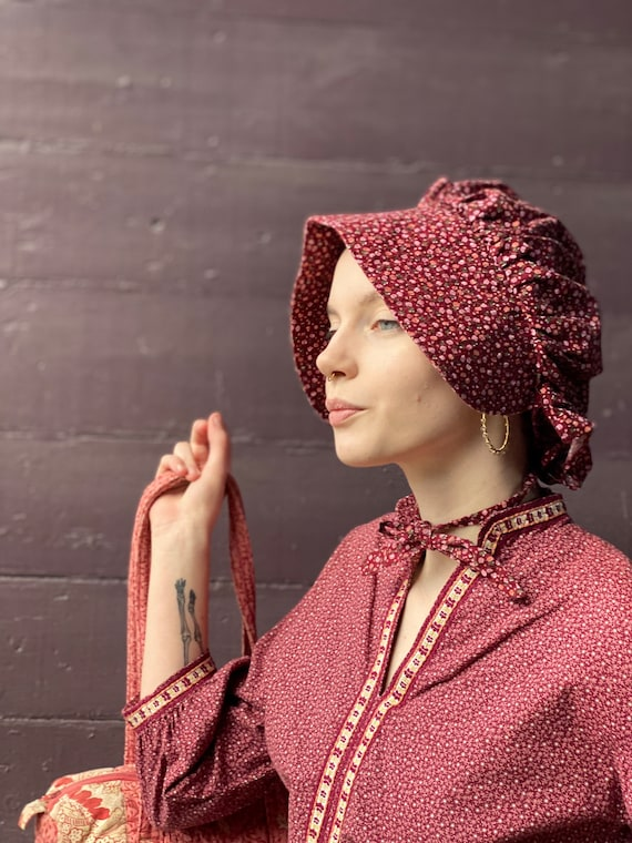 Calico Maroon Bonnet with ditsy floral pattern-Pin