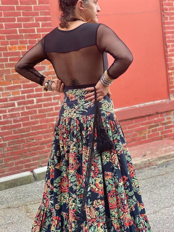 Norma Kamali Cotton Ruffle Skirt-Fall Roses-Giant… - image 3