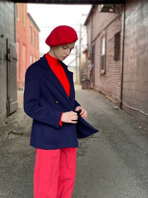 Red Wool Beret-Classic 1980s French Style-Betmar H