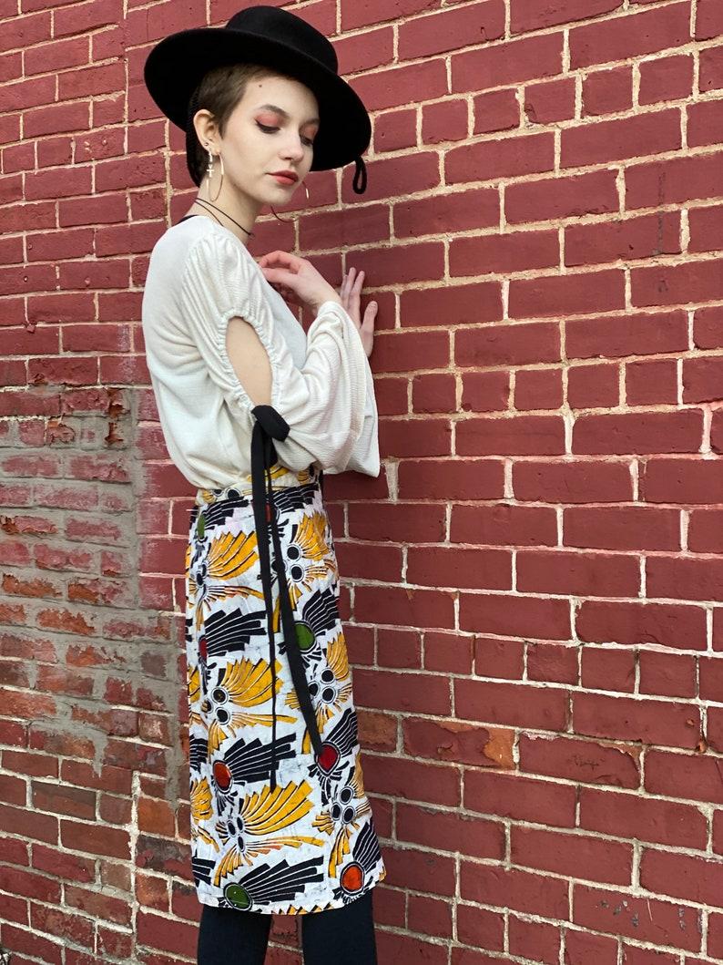 1980s Batik Pencil Skirt-Midi Mini-Cotton-White Red Gold Green-Abstract Floral-Geometric-Bali-Vibrant-Boho-pin up-holiday-vintage 80s women