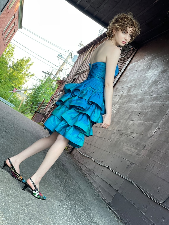 Designer 1980s Tadashi Sea Blue Green Party Dress… - image 8
