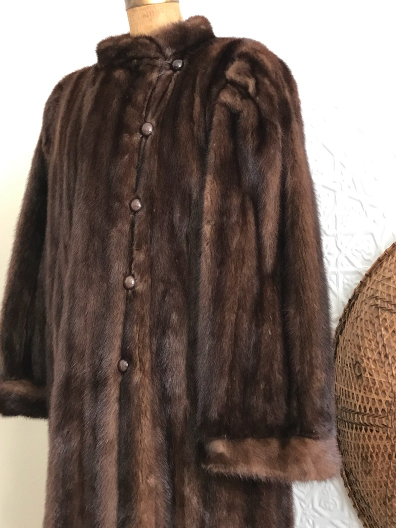 9b312e92e261 YSL Vintage Mink Coat-1980s-Rare-New Old Stock-Yves Saint Laurent-Full  Length Fur Jacket-Brown-Luxury Button Down Lined Beauty