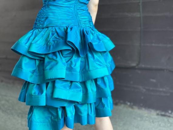 Designer 1980s Tadashi Sea Blue Green Party Dress… - image 3