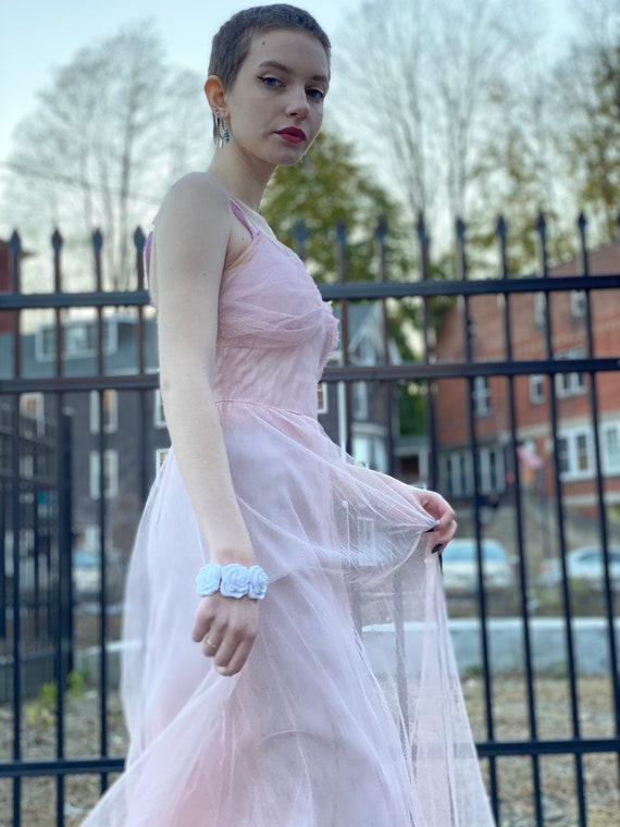 1930s Vintage Pink Net Evening Gown-Bridesmaid-Swe