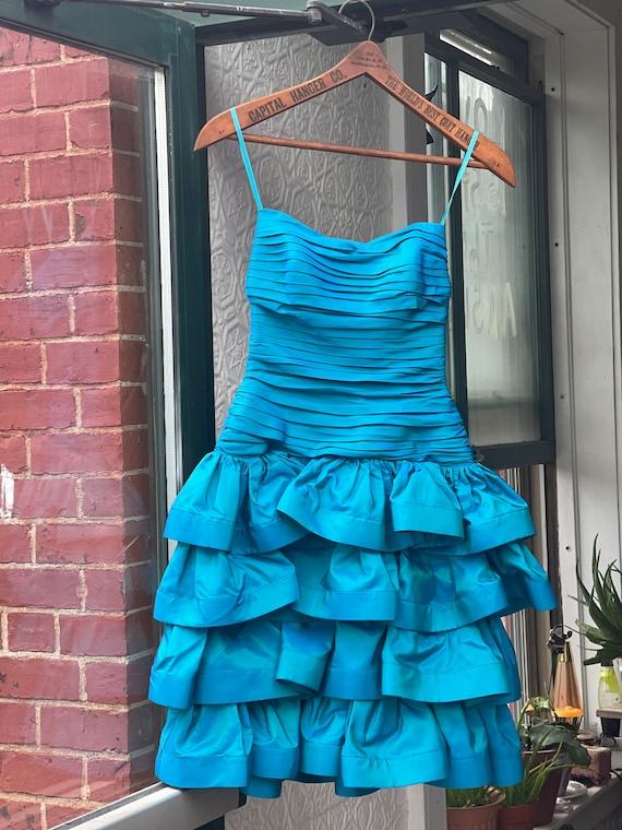 Designer 1980s Tadashi Sea Blue Green Party Dress… - image 2