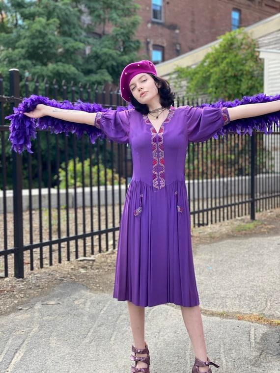 Handmade Purple Rayon Dress-Embroidered Rainbow-Tr
