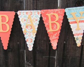 Sweet Baby, Baby Shower Banner, Baby Shower Decorations, Coral, Turquoise, Peach, Green, White