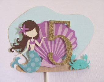 Mermaid Cake Topper, Birthday Cake Topper, Mermaid Centerpiece Stick