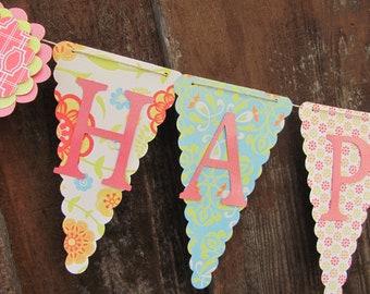 Happy Birthday Banner, Birthday Banner, Happy 1st Birthday Banner, Happy Birthday Girl Banner 1st Birthday,