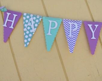 Purple, White and Turqoise Happy Birthday Banner, Birthday Banner,