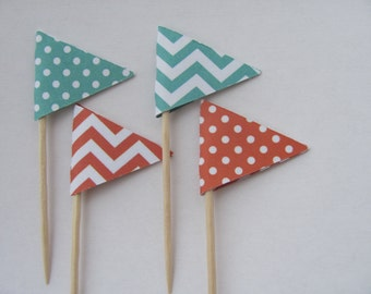 Flag Food Picks, Flag Cupcake toppers, Set of 24,
