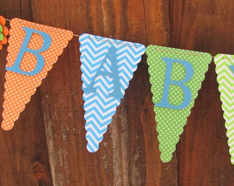 Baby Shower Banner, Baby Shower Decorations, Chevron and Polka Dots