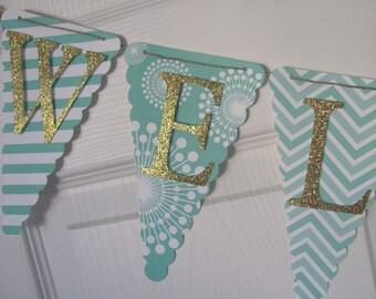 Gender Neutral Baby Shower Decorations, Baby Shower Banner, Baby Shower Decorations, Mint Green and Gold  Banner,