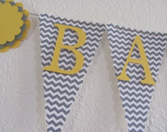 Baby Shower Banner, Baby Shower Decorations, Yellow and Gray Chevron Banner