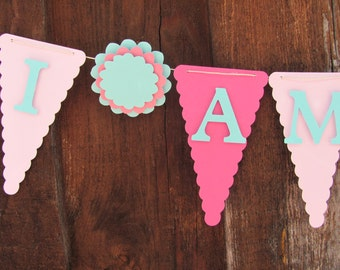 High Chair Banner, I Am One banner, Birthday decorations, small/mini banner