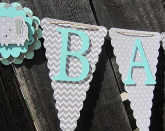 Baby Shower Banner, Baby Shower Decorations, Grey, White and Turquoise