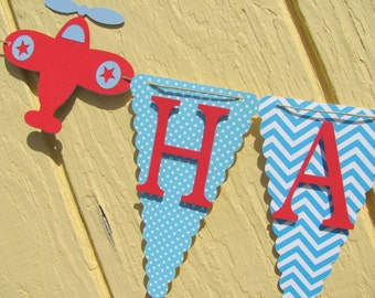 Blue and Red Happy Birthday Banner, Airplane Birthday Banner, Birthday Decorations