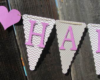 Light Purple and Gray Chevron Happy Birthday Banner, Birthday Banner, Happy 1st Birthday Banner, Birthday Decorations
