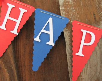 Birthday Banner, Happy Birthday Banner, Happy Birthday,  1st Birthday, Red white and blue banner