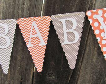 Orange and Gray Welcome Baby Shower Banner, Baby Shower Decorations, Baby Boy Banner, Gender Neutral Banner