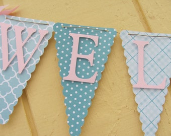 Baby Shower Banner, Baby Shower Decorations, Teal, Turquoise, Light Pink