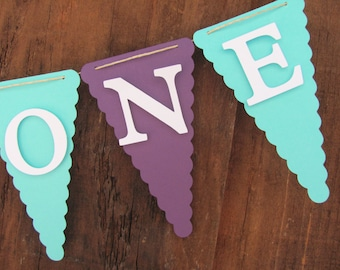 High Chair Banner, I Am One banner, Birthday decorations, small/mini banner, purple and turquoise banner