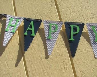 Grey Chevron, Navy Blue, Lime Green Happy Birthday Banner, Birthday Banner, Birthday Decorations