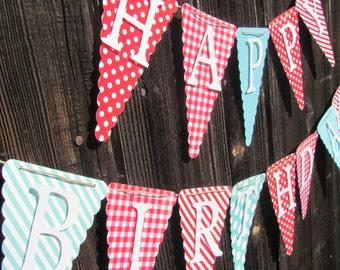 Red, Turquoise, White Happy Birthday Banner, Birthday Decorations,  Birthday Banner