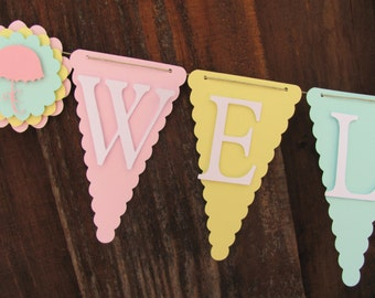 Welcome Baby Shower Banner, Baby Shower Decorations, Gender Neutral Banner, Gender Neutral Baby Shower Banner, pastel baby shower banner
