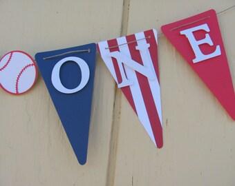 Baseball High Chair Banner, I Am One banner, Birthday decorations, small/mini banner